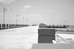 Black and white bridge way Stock Images