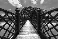 Black and White Bridge wooden.  Stock Images