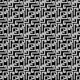 Greek Style Texture Seamless Pattern. Black and white broken greek key fret meander mosaic geometric pattern. Greek abstract lines texture seamless tile Stock Images