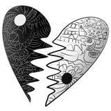 Black and white broken heart drawn Zentangle style Stock Image
