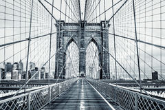 Black and white Brooklyn Bridge Royalty Free Stock Images