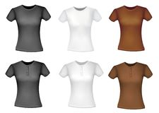Black and white and brown shirts (women). Stock Images