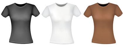 Black, white and brown women T-shirts. Stock Photography