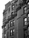 Black and White Brownstones in Boston. Shows upper windows of resiential building in downtown boston massachusetts Stock Images