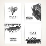 Black and white brush texture handdrawing and prints banners Royalty Free Stock Images