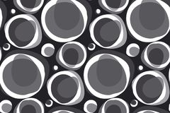 Black and white bubble pattern in retro vintage textile style. Abstract soft round geometric shapes seamless pattern Royalty Free Stock Image