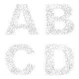 Black and white bubbles alphabets Royalty Free Stock Image
