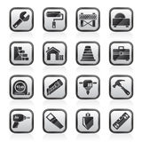 Black an white building and construction icons Royalty Free Stock Image