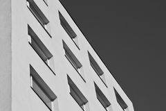 Black white building. Black white panel building shadows Royalty Free Stock Images