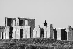 Black and White Building Ruins Stock Images