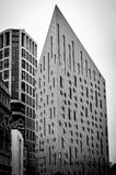 Black and white of building with sharp angle roof in london. Building with sharp angle roof in city of london Stock Images