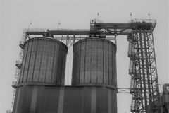 Black And White, Building, Silo, Industry Stock Photos