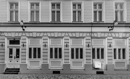 Black and white building with windows Stock Image