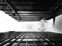Black-and-white, Buildings, Clouds Royalty Free Stock Image