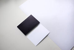 Black and white business cards on the table Stock Image