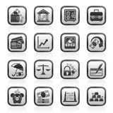 Black and white business, finance and bank icons. Vector icon set Stock Photography
