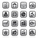 Black an white business, finance and bank icons Stock Images