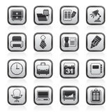 Black and white business and office equipment icons Royalty Free Stock Image