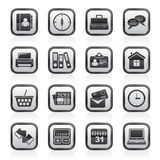 Black and white business and office icons Royalty Free Stock Image