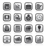 Black and white business and office icons Royalty Free Stock Photo