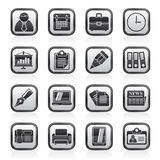 Black an white business and Office Icons Stock Photography