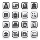 Black an white business and office icons Stock Photos