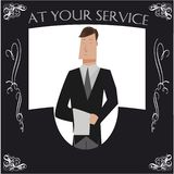 Black and white butler poster. With a cartoon butler swirly decoration and typography that says at your service royalty free illustration