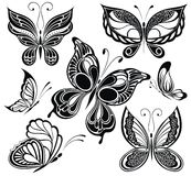 Black and white butterflies collection. Tattoo des Royalty Free Stock Image