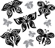 Black and white butterflies. Set of black and white butterflies Royalty Free Stock Images
