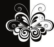 Black and white butterfly. Vector  illustration of a stylised decorative butterfly Stock Images