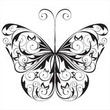 Black and white butterfly stock illustration