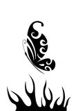 Black and white butterfly over flame. Silhouettes of  abstract butterfly and hot flame, vector illustration Stock Image