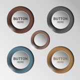 Black and white button set Round and square buttons Stock Images