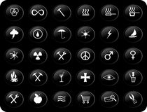 Black and white buttons. Black and white web buttons with various signs and symbols on them Stock Images