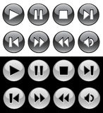 Black and white buttons for player Royalty Free Stock Photo