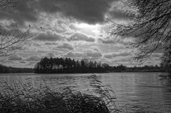Lake under dramatic cloudy sky and reed in a foreground. BW photo. Black and White BW photo of a lake Grossensee under dramatic cloudy sky and brawn reed in Royalty Free Stock Images