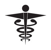 Black and white caduceus medical symbol icon vector isolated white background. Royalty Free Stock Images