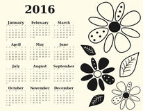 Black and white 2016 calendar with flowers and leaves illustration template Stock Photos
