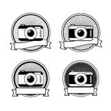 Black and white camera stamps Stock Photography