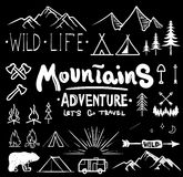 Black and white camping collection of icon made with ink and brush. Doodle style. Hand drawn set of adventure items. Campfire, mountains, wildlife, bear, tent Royalty Free Stock Images