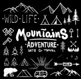 Black and white camping collection of icon made with ink and brush. Doodle style. Hand drawn set of adventure items. Campfire, mountains, wildlife, bear, tent Royalty Free Stock Photo