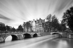 Black and white canal. Beautiful long exposure at the Emperors canal (Keizersgracht) and Leidse canal in Amsterdam Royalty Free Stock Image