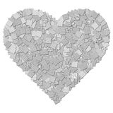 Black and white canvas texture heart shape Royalty Free Stock Photos