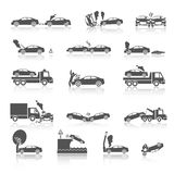 Black and white car crash icons. Black and white car crash and accidents icons with pedestrian warning sign and tow truck vector illustration Stock Photos