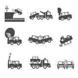 Black and white car crash icons. Black and white car accidents icons with tow truck street light  and tree crash isolated vector illustration Stock Photos