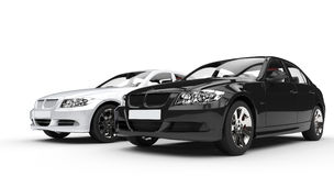 Black and white car - front view Royalty Free Stock Image