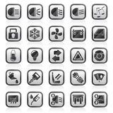 Black an white car interface sign and icons Stock Photography