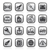 Black and white car parts and services icons. Vector icon set 1 Stock Image