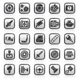 Black an white car parts and services icons. Vector icon set vector illustration