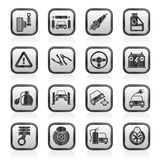 Black and white car and road services icons Royalty Free Stock Images